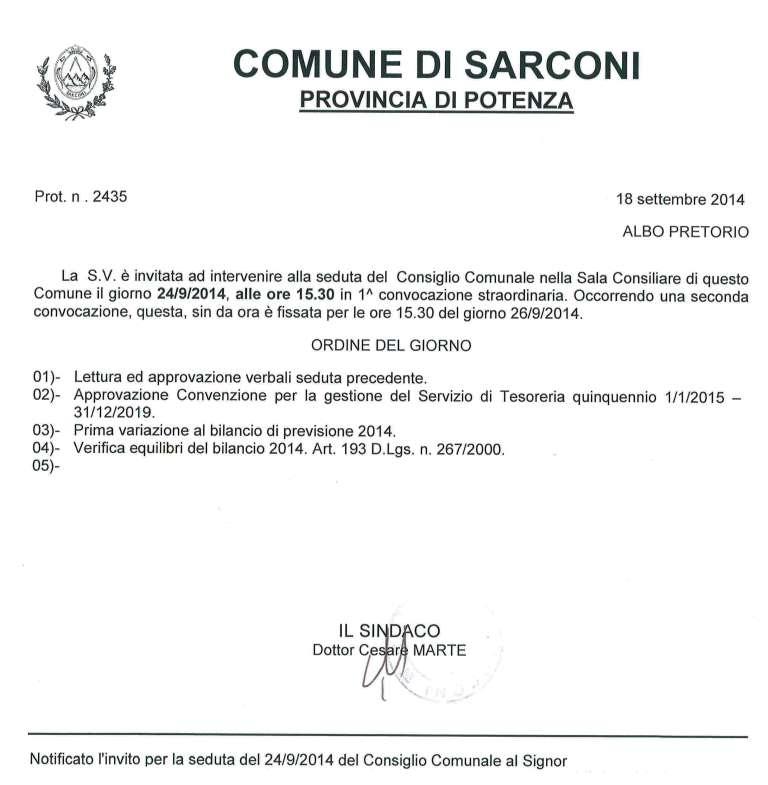 consiglio comunale sarconi