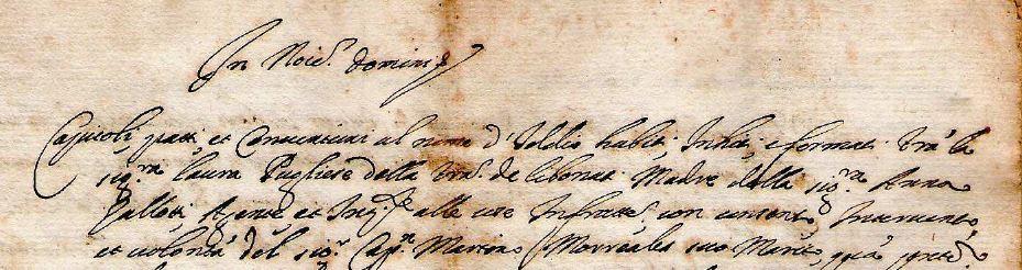 Manoscritto Anno 1817