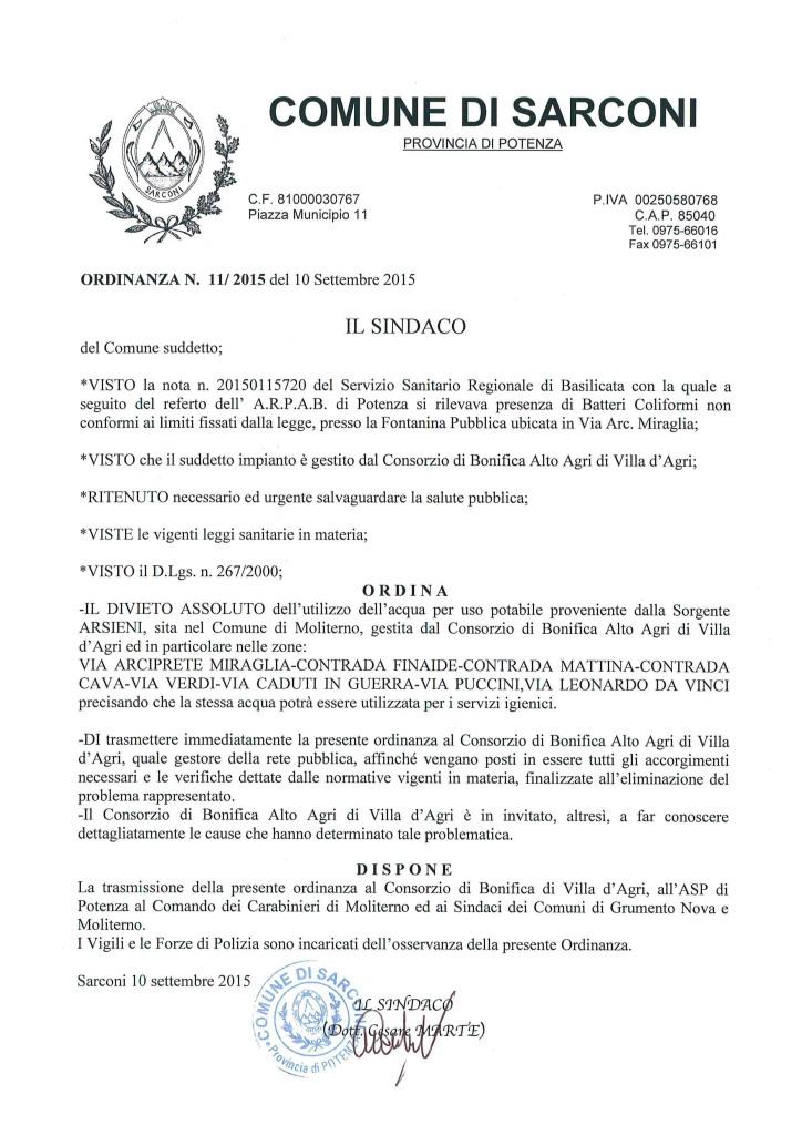 Ordinanza Sinsaco Sarconi