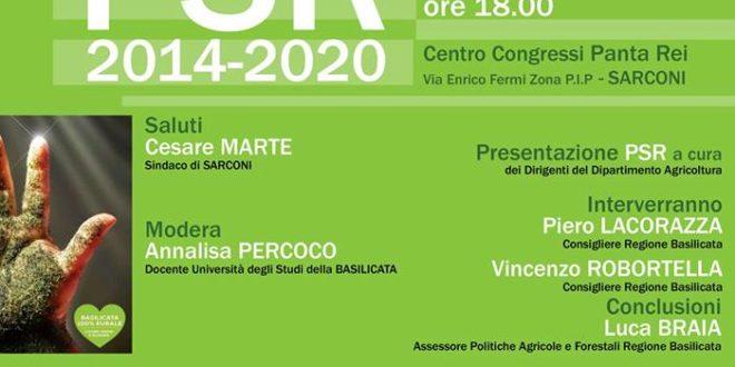 Sarconi 2 agosto, Presentazione PSR 2014-2020 presso il Panta Rei Centro Congressi